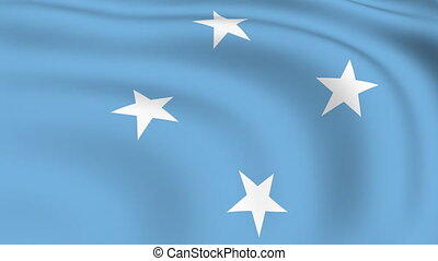 vliegen, vlag, looped, |, micronesië
