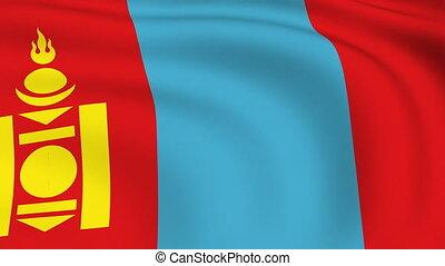 vliegen, vlag, looped, |, mongolië