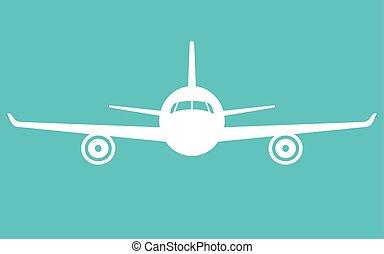 vliegen, vliegtuig, voorkant, vliegtuig, icon., aanzicht