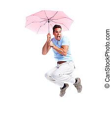 vliegen, vrolijke , man, met, umbrella.