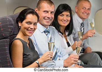 vliegen, zakenlui, drank, vliegtuig, champagne