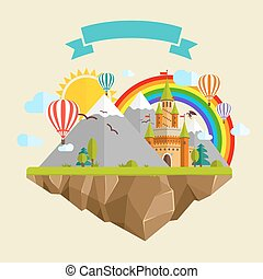 vliegen, zon, eiland, bomen, wolken, draak, verhaal, bergen, regenboog, ballons, elfje, lint, kasteel