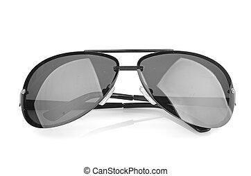 vliegenier, zonnebrillen, vrijstaand, op wit, achtergrond