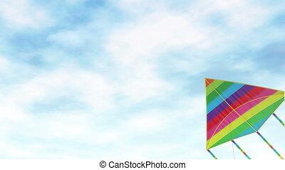 vlieger, -, een, speelbal, en, amusement