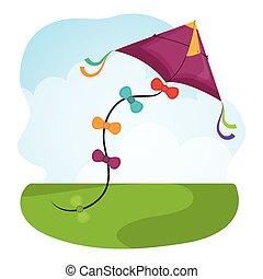 vlieger, en, kindertijd, design.
