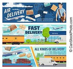 vliegtuig, aflevering, trein, post, vrachtwagen, scheeps