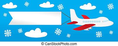 vliegtuig, banieren, th