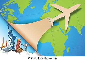 vliegtuig, boeiend, in, reizen, achtergrond