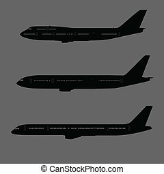 vliegtuig, bovenkant, silhouettes, aanzicht