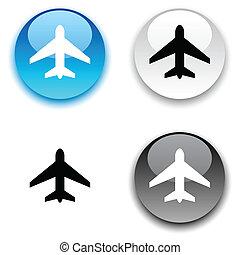vliegtuig, button.