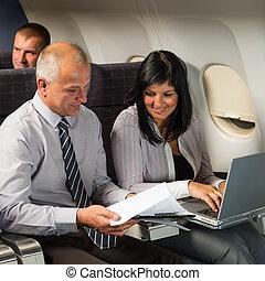 vliegtuig, computer, vlucht, businesspeople, werkende