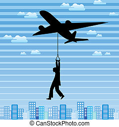 vliegtuig, en, man, in de stad