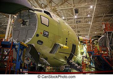 vliegtuig, fabriekshal, fuselage