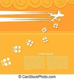 vliegtuig, gele achtergrond
