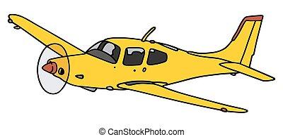 vliegtuig, gele