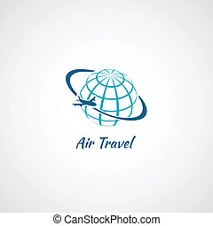 vliegtuig, globe, pictogram