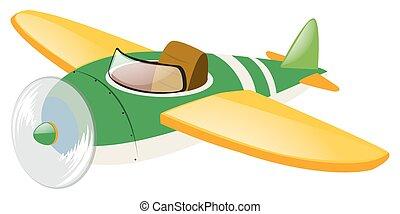 vliegtuig, groene, vleugels, gele