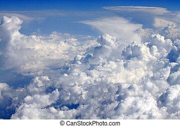 vliegtuig, hemel, -, aanzicht, wolken, atmosfeer