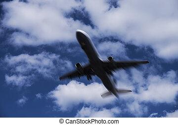 vliegtuig, hemel, bewolkt