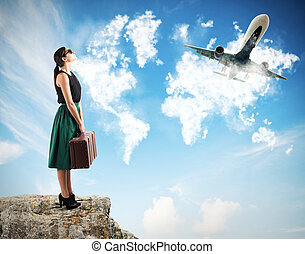 vliegtuig, horloge, toeristen, takeoff