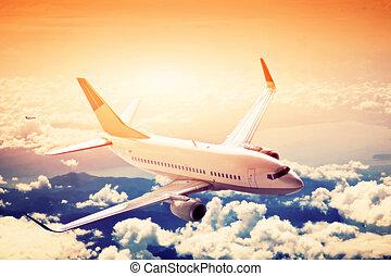 vliegtuig, in, flight., een, groot, passagier, of, vracht...