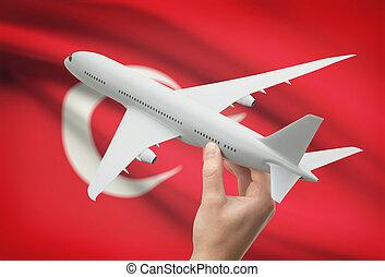 vliegtuig, in, hand, met, vlag, op achtergrond, -, turkije