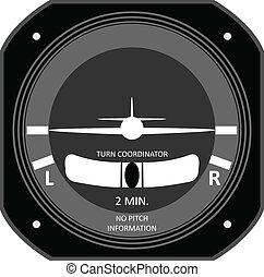 vliegtuig, instrument.