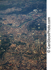 vliegtuig, italië, aanzicht, luchtopnames, venster, rome