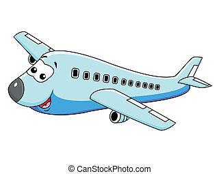 vliegtuig, karakter, spotprent