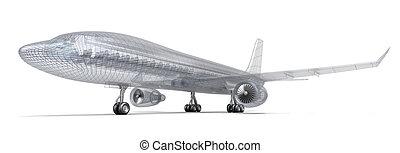 vliegtuig, model, draad