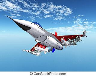 vliegtuig, moderne, vechter