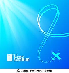 vliegtuig, op, blauwe achtergrond