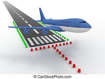 vliegtuig, opstijgen