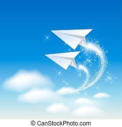 vliegtuig, papier