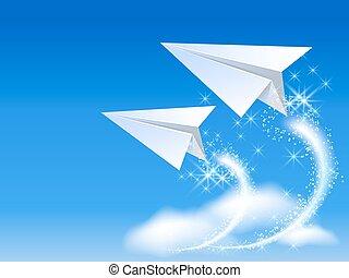 vliegtuig, papier, twee