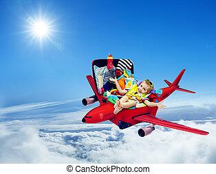 vliegtuig, reizen, baby, geitje, ingepakte, koffer, kind, vliegen