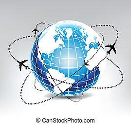 vliegtuig, route, in, blauwe , wereld