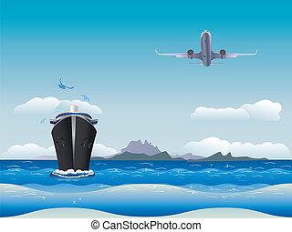 vliegtuig, scheeps