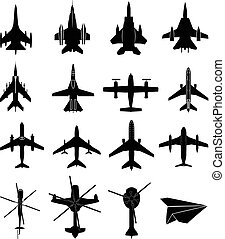 vliegtuig, set, iconen