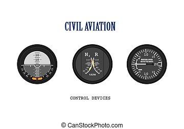 vliegtuig, set, instruments.