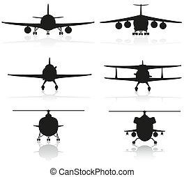 vliegtuig, set, silhouette, iconen
