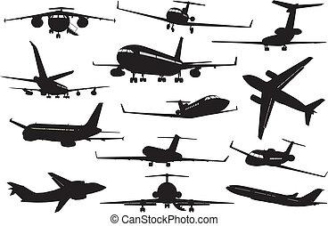 vliegtuig, set, silhouettes