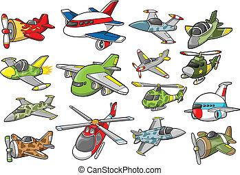 vliegtuig, set, vector, illustratie