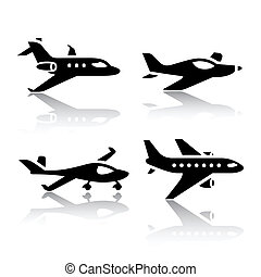 vliegtuig, set, -, vervoeren, iconen