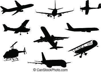 vliegtuig, silhouette, verzameling