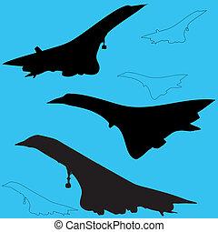 vliegtuig, silhouettes, overeenstemming