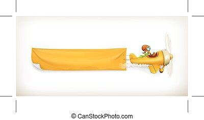 vliegtuig, spandoek, gele