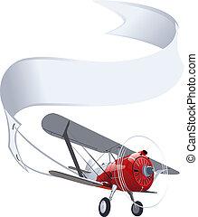 vliegtuig, spandoek, retro
