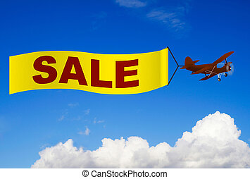 vliegtuig, spandoek, verkoop