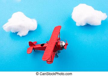 vliegtuig, speelbal, hemel
